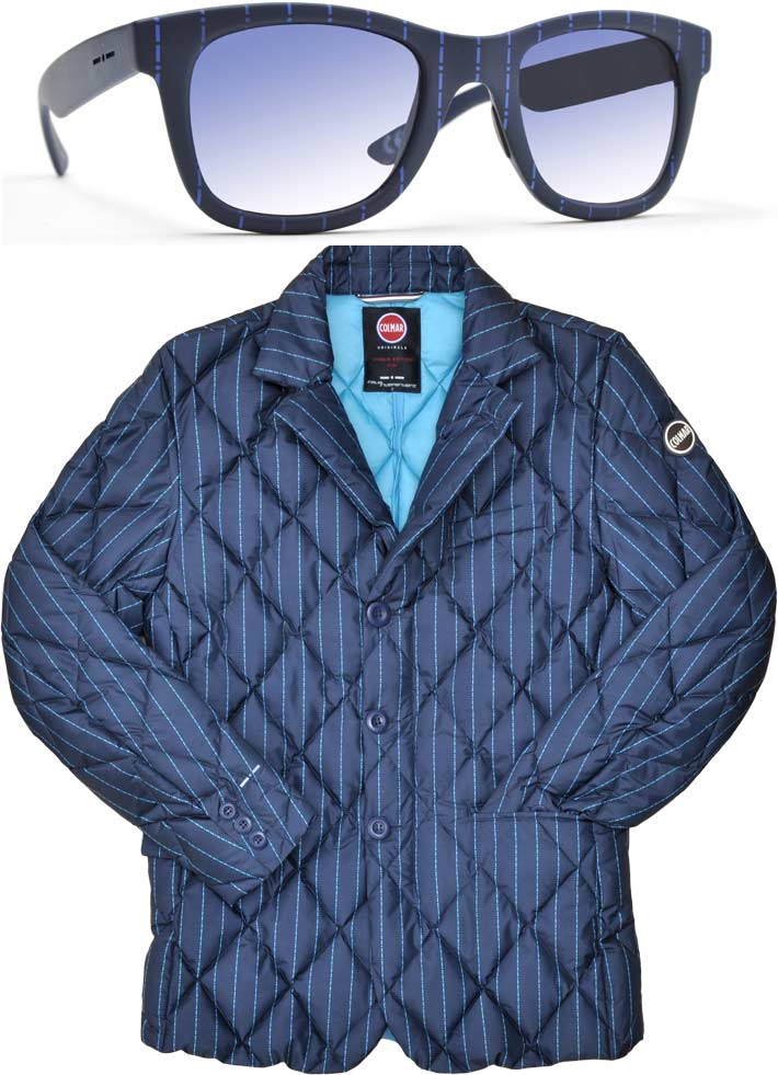 Eyewear and down blazer with matching patterns; Colmar