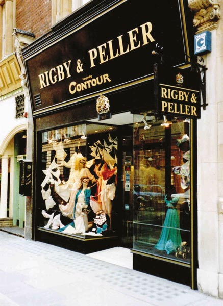 aa5d2ddd76 fig. above  Historical shot of the windows of the Rigby   Peller store  during the 1980s in Knightsbridge